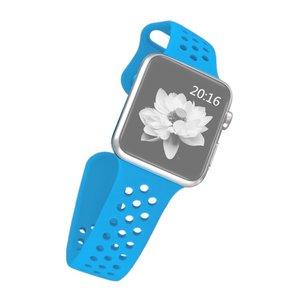 Apple watch band van By Qubix - 42mm / 44mm - Blauw - Universeel - Holow sport bandje - Geschikt voor alle 42mm / 44mm apple watch series en Nike+ - Rubberen bandje - Met druksluiting!