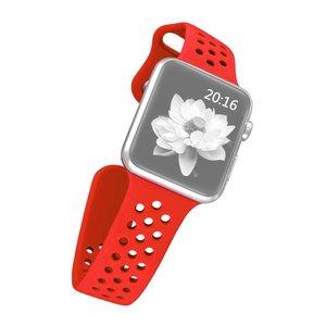 Apple watch band van By Qubix - 42mm / 44mm - Rood - Universeel - Holow sport bandje - Geschikt voor alle 42mm / 44mm apple watch series en Nike+ - Rubberen bandje - Met druksluiting!