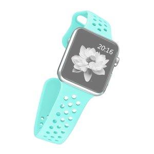 Apple watch band van By Qubix - 42mm / 44mm - Mint groen - Universeel - Holow sport bandje - Geschikt voor alle 42mm / 44mm apple watch series en Nike+ - Rubberen bandje - Met druksluiting!