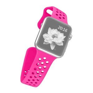 Apple watch band van By Qubix - 42mm / 44mm - Magenta - Universeel - Holow sport bandje - Geschikt voor alle 42mm / 44mm apple watch series en Nike+ - Rubberen bandje - Met druksluiting!