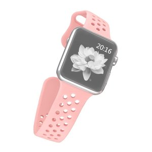 Apple watch band van By Qubix - 42mm / 44mm - Roze - Universeel - Holow sport bandje - Geschikt voor alle 42mm / 44mm apple watch series en Nike+ - Rubberen bandje - Met druksluiting!