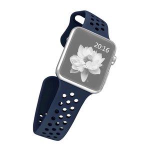 Apple watch band van By Qubix - 42mm / 44mm - Donker blauw - Universeel - Holow sport bandje - Geschikt voor alle 42mm / 44mm apple watch series en Nike+ - Rubberen bandje - Met druksluiting!